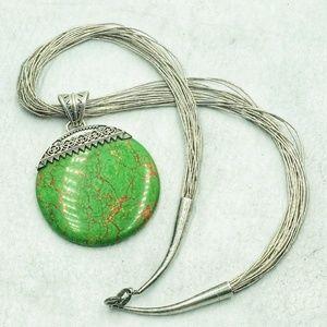 Liquid Silver Necklace  w/ turquoise round pendant